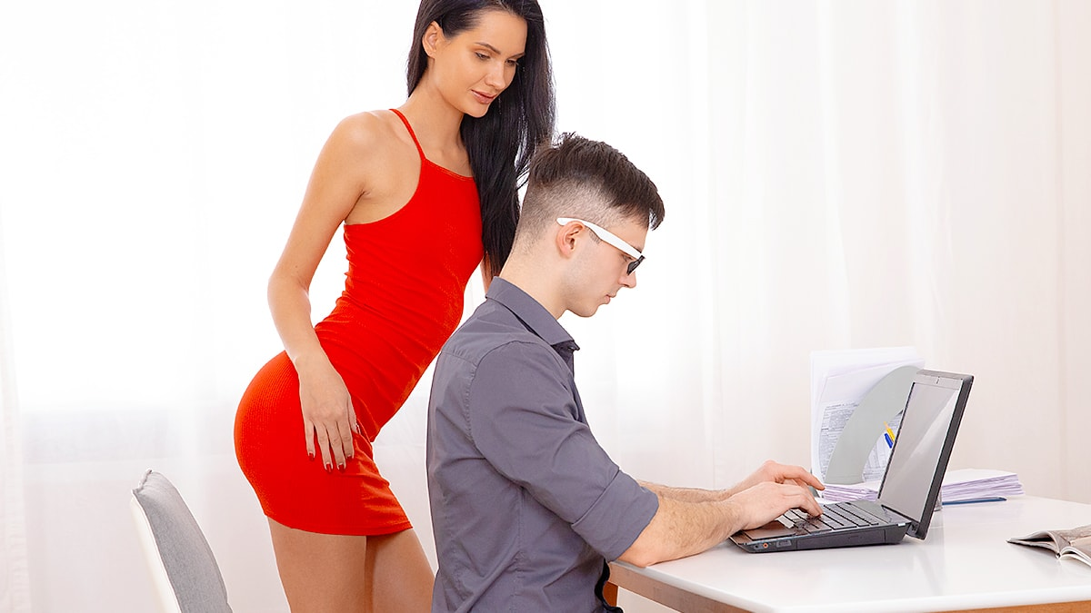 Lady in red jumps on a dick